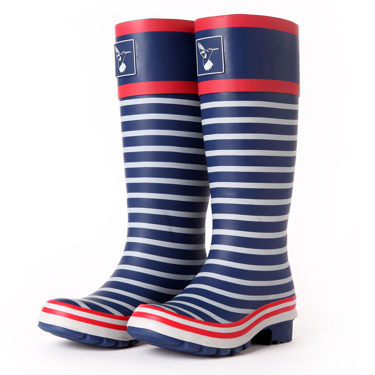 UK Brand Ladies Rain boots Wellies Fashion Stripes Knee High Waterproof Boots