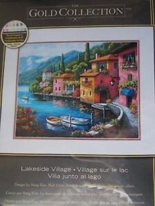 Cross-stitch-Kit-Gold-Collection-034-Lakeside-Village-034-New-by-Dimensions-15-034-x-12-034