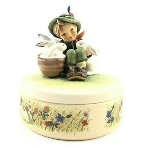 Hummel-Goebel-Playmates-III58-TMK7-Boy-w-Bunny-Rabbits-Trinket-Jewelry-Box-w-Lid