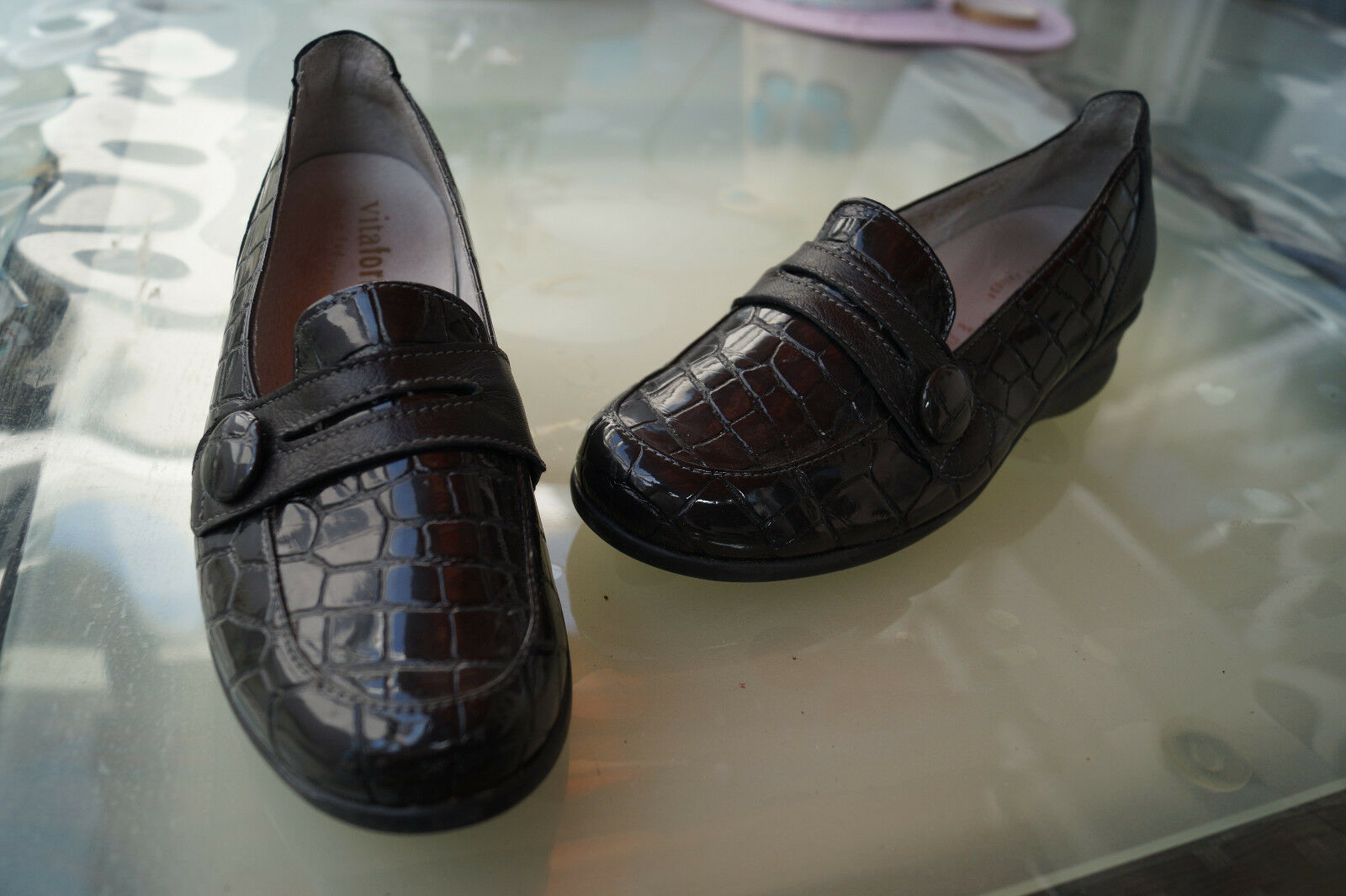 Donna Vitaform Comfort Scarpe Mocassino Slipper MIS. 38 H pelle verniciata nero comodo