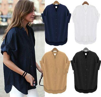 Boyfriend Style Women Plus Size Loose Batwing Sleeve V Neck Tops Blouse T-shirt