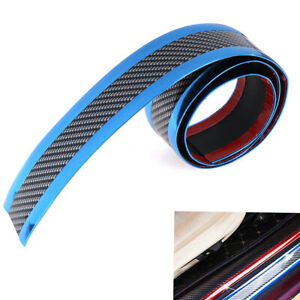 5CM-1M-Car-sticker-carbon-fiber-blue-rubber-door-sill-protector-edge-guard-st-GD