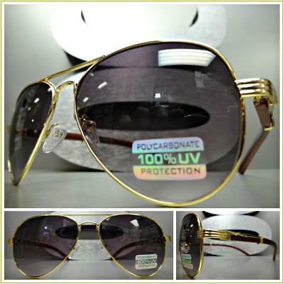 Mens CLASSY VINTAGE RETRO Style SUN GLASSES Small Gold Frame Wood Wooden Temples