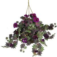 Nearly Natural 6610 Morning Glory Hanging Basket Decorative Silk Plant Purple