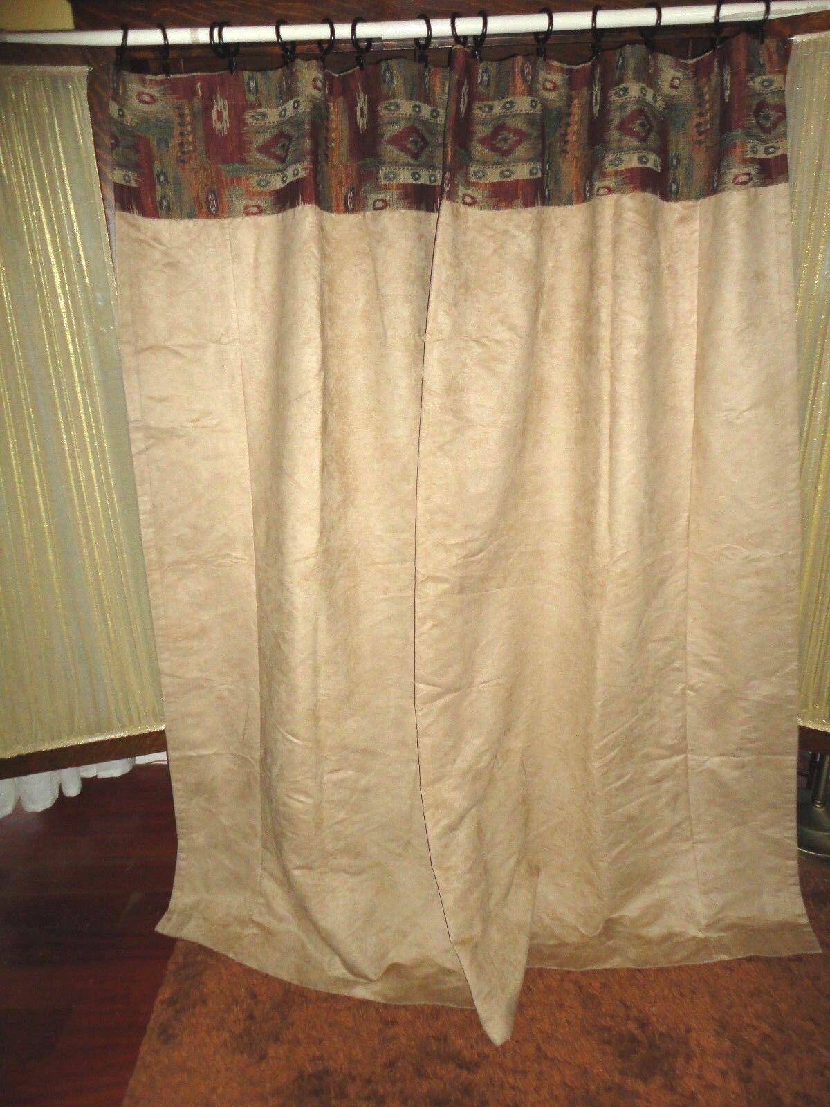 LINCOLN TEXTILE FAUX SUEDE TAN Rot SOUTHWESTERN FABRIC SHOWER CURTAIN 72 X 69 8822da