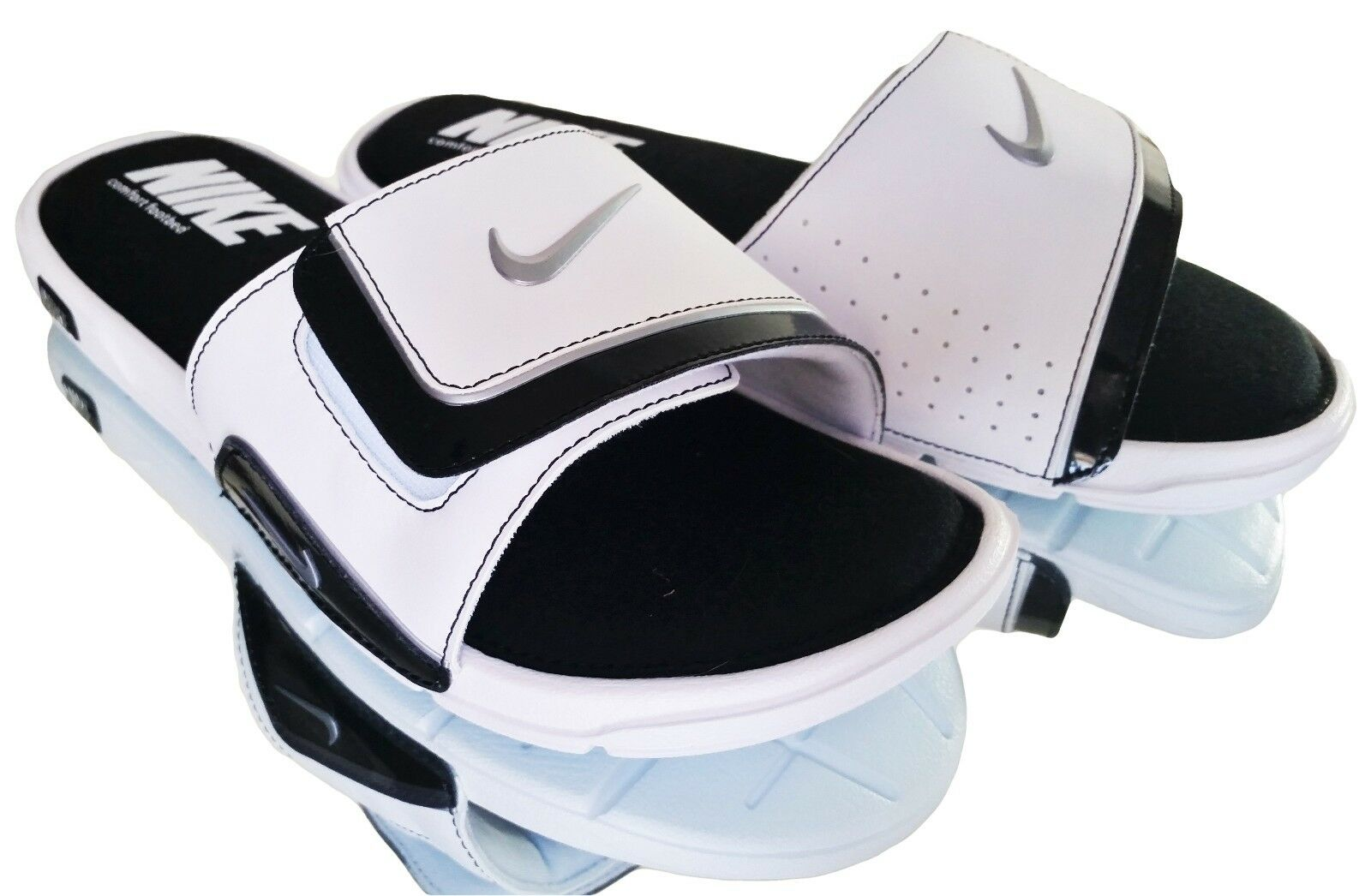 a1da8ec50434 Nike Comfort Slide 2 Sandals 415205-100 White Silver Black Mens US ...
