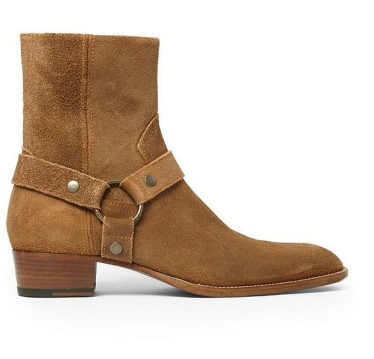 Mens Round Toe Genuine Leather Suede Buckle Ankle Knight Boots Block Heel Shoes