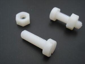 Tornillos-Nylon-cabezal-cilindrico-plana-ranurada-M3x30mm-tuerca-lote-de-10
