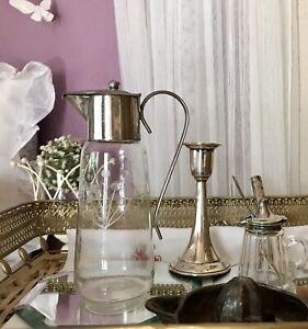Antik Art Déco Karaffe Glas schön Metallmontur versilbert? verchromt? Schliff
