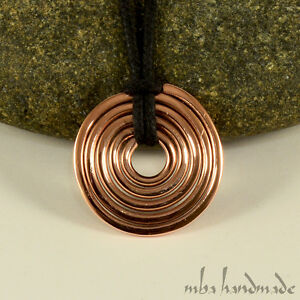 Copper-Wire-Wrapped-Unisex-Spiral-Viking-Pendant-Artisan-Handcrafted-Necklace