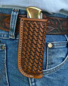 Large-Leather-Pocket-Knife-Pouch-Sheath-Ruff-s-Saddle-Shop-Basket-Weave-Brown