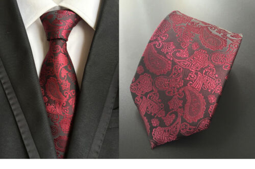 XT016 classic mens neck ties 100/% silk wedding party wine red paisley necktie
