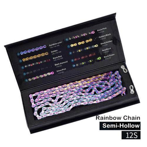9//10//11//12s Bike Chain SUMC 1//2 3//32 116 Link Semi-Hollow Colorful Rainbow Chain