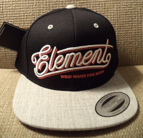 ELEMENT SNAPBACK CAP HAT BLACK//GREY MAHTCLEG *NEW*