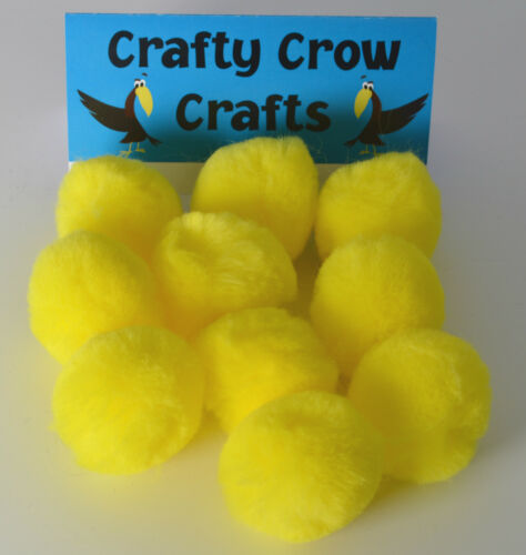 10 x LARGE YELLOW 50mm POM POMS