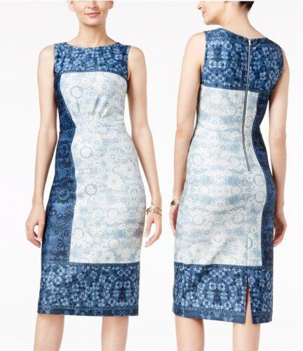 8R ECI Azul Denim Vestido Tubo de impresión estiramiento Scuba abstracto $70