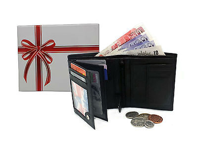 MENS GENUINE SOFT BLACK REAL LEATHER WALLET CREDIT CARD HOLDER PURSE DESIGN