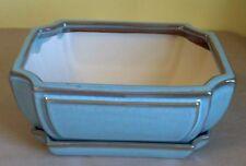 """Lovely Bonsai Pot & Matching Saucer XL 10"""" long NEW, Light Blue with Brown"""