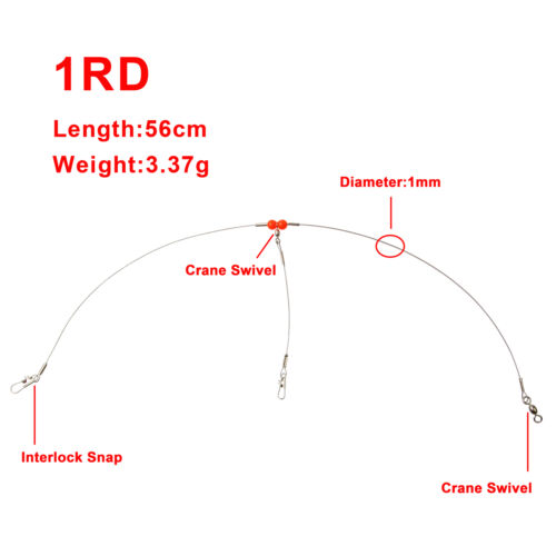 Fishing Steel Wire Rigs 2 Arms Wire Leader Guff Rigs With Swivels /& Snaps Tackle