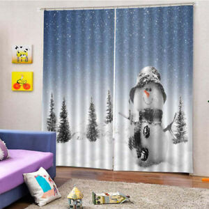 Details about Blackout Curtain 3D Photo Printing Curtains Drape for Living  Room Snowman 4