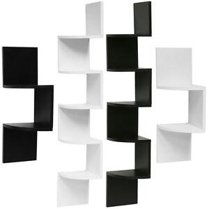 Hartleys Zig Zag Wood Floating Corner Wall Shelf Unit Modern Display