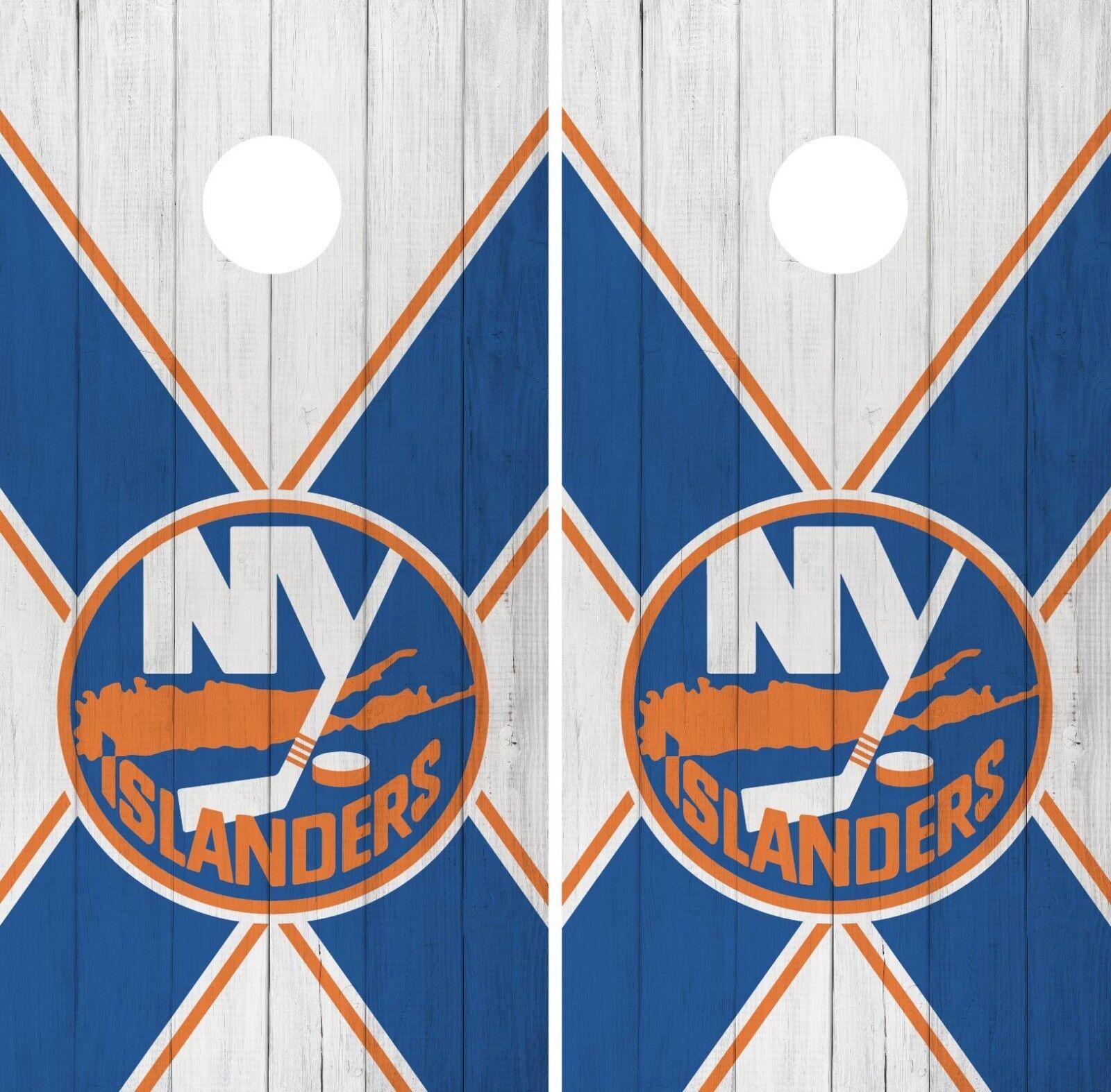 New York Islanders Cornhole Wrap NHL Logo Game Board Skin Set Vinyl Decal CO241