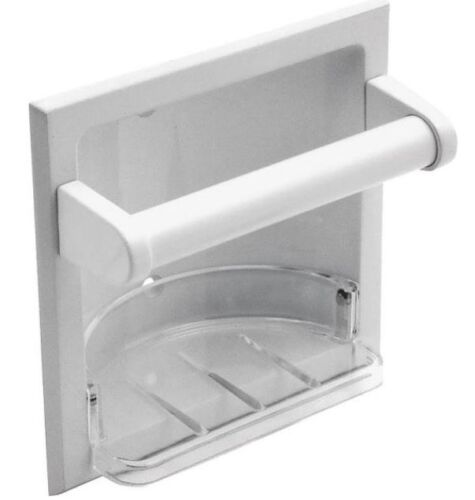Mintcraft L770H-51-07 Recessed Soap Dish With Grab Bar /&  Holder White