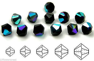 Crystal AB Rondell//Diamond clear Aurora crystals Czech MC Glass Bicone Beads