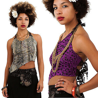 SLASHED OPEN BACK PIXIE TOP, plaited hippy top, psy trance, festival clothing