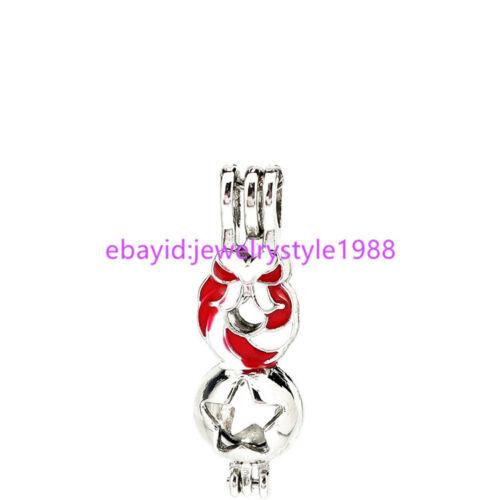 5X-K1092 émail rouge guirlande de Noël Charme Médaillon étoile décoration perles cage