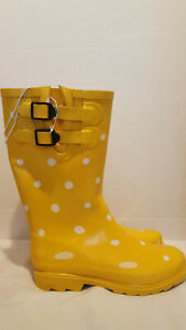 Novel-Dot-Rain-Boots-Size-8-Yellow