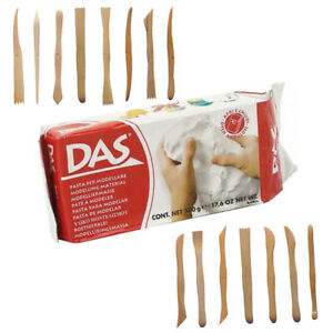 Das-Air-Drying-Clay-White-500g-amp-Set-of-15-Assorted-Wooden-Modelling-Tools