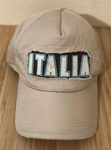 134303c0 Image is loading Italia-Hat-Cap-Adjustable-Beige-Distressed-Italian-Flag