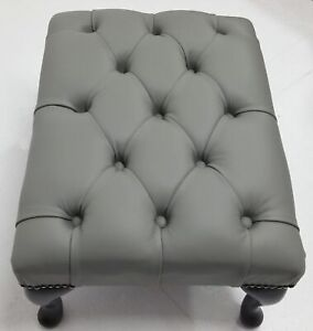 Chesterfield-Deep-Buttoned-Queen-Anne-Footstool-Italian-Grey-Leather
