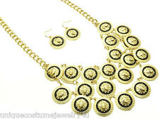Black Gold Plated Metal Layered Lion Head Animal Pendant Statement Necklace Set