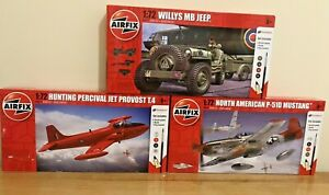 Airfix-Model-Bundle-of-3-Hunting-Percival-Messerschmit-amp-Willys-Jeep-BNIB