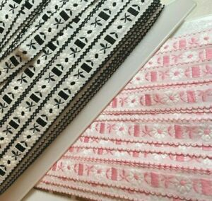 VINTAGE-Embroidered-COTTON-BATISTE-3-4-034-034-TRIM-FRANCE-RIBBON-1yd