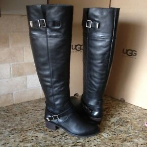 Image is loading UGG-Bess-Black-Leather-Over-the-Knee-High-