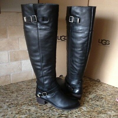 Black Leather Over The Knee Riding Boots