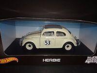 Hot Wheels Herbie The Love Bug Volkswagen Beetle 1962 53 Cream White 1/18 Bly59
