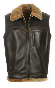 pelle gilet pelle da Gilet uomo vitello in pelle marrone Nuovo con in Gilet colletto in di Firminius 6ffxaYq