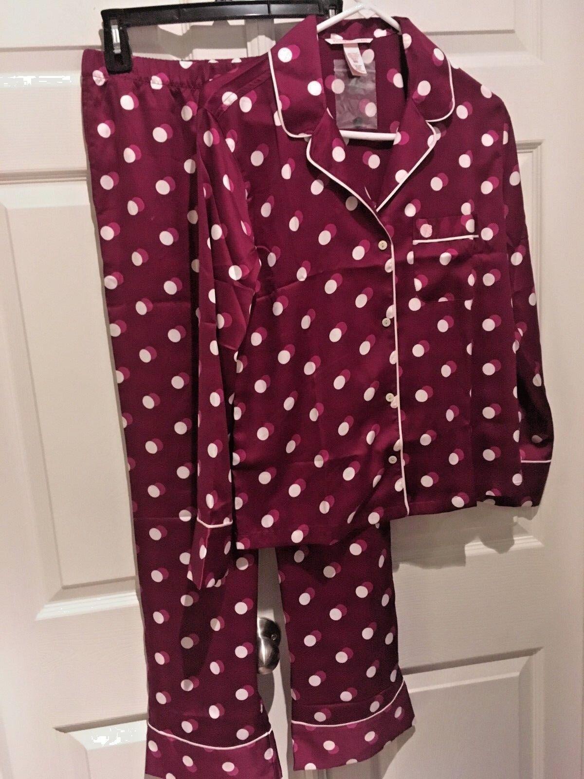 NEW Victoria Secret Satin Afterhours Pajama SET Pants Dot Kir pj S L XL Short