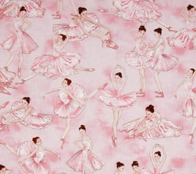 Fat Quarter Tiny Dancer Ballerina on Pink Cotton Quilting Fabric Benartex 5163