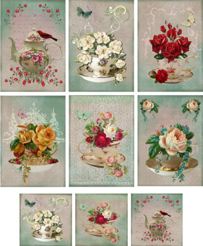 Vintage inspired Tea Cup Tea Pot note cards set  6 /& mini cards with envelopes