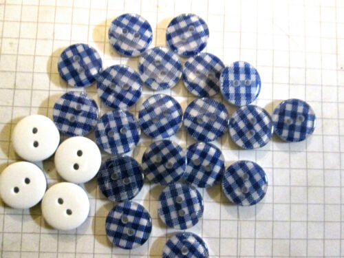 13mm Gingham Buttons x 24  Sewing Embellishment  cardmaking Choice of Colour