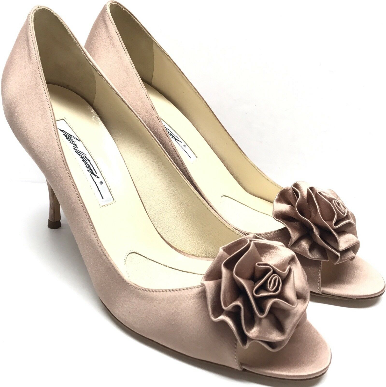BRIAN ATWOOD Satin Floral Peep Pump Formal Bridal Heel shoes 40 10