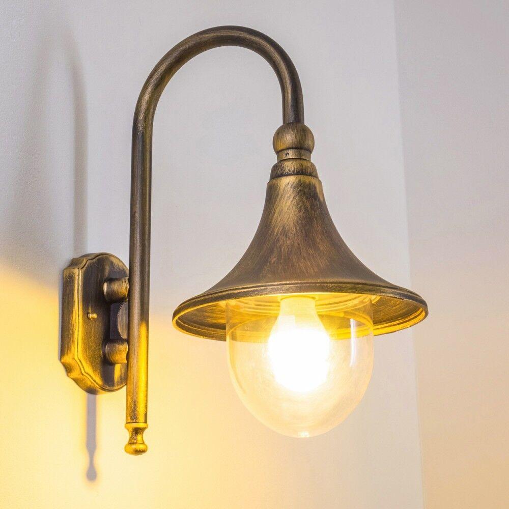 Wandlampe Aussen Wand Leuchten Terrasse Aussenlampe Balkon Lampen  braun Gold