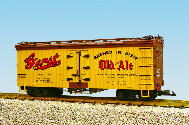 USA Trains G Scale U.S. REEFER CAR R16405 Gerst Old Ale Gelb BC rot