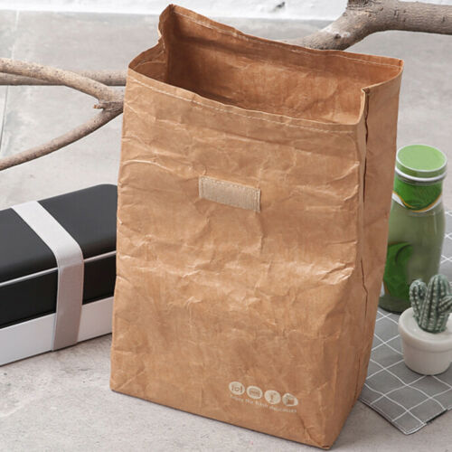 Brown Paper Lunch Bag Reusable Insulated Thermal Cooler Sack Magnetic Clos BWHKH