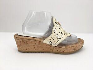 Eric Javits Womens Sandals Wedges Platform 10M Beige Lasercut Cut Out Cork